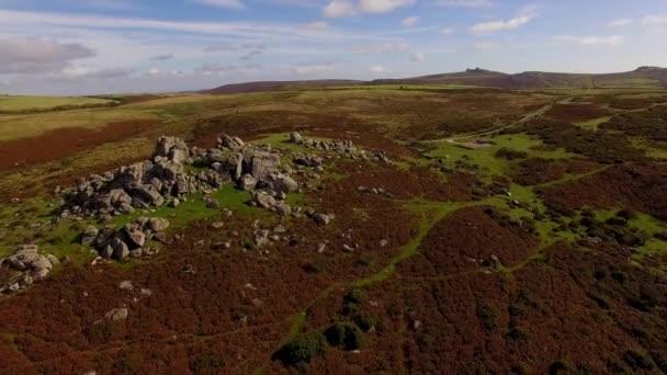 Dartmoor Drone Flyover, Autumn Colours Countryside, Bonehill Rocks, Devon UK