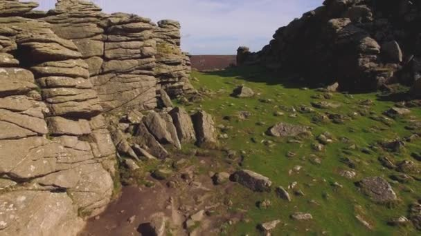 Hound Tor, Dartmoor National Park Granite Rock Formations, Aerial Drone Footage