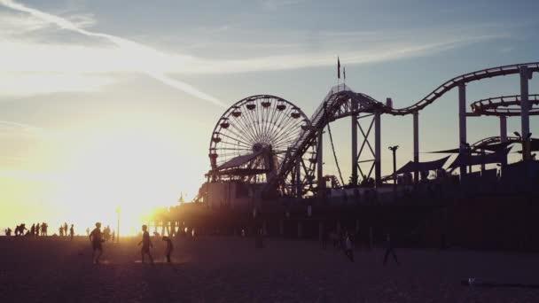 Santa Monica Pier  Ferris Wheel at Sunset, Los Angeles Landmarks Beach Scenic