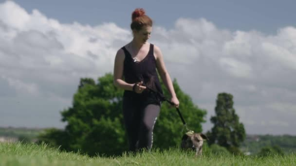 Giovane donna che cammina il cane al guinzaglio nel parco / verde prato il giorno di estate
