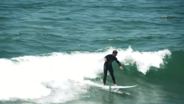 Surfer Surfing Ocean Waves, Summer Beach Scene, Slow Motion, Venice Beach California