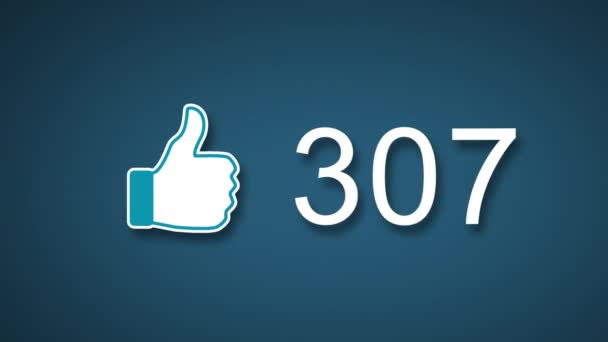 Social Media Likes Counter Increasing with Thumbs Up Icon Stock Footage