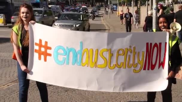 Girls with End Austerity Now Sign, UK Austerity Protests, Bristol 2015