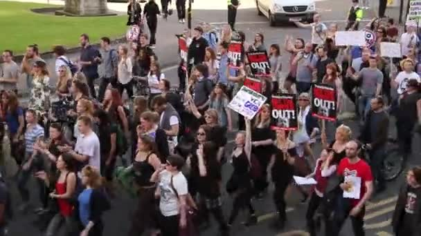 People Marching with signs, UK Austerity Protests 2015, Bristol