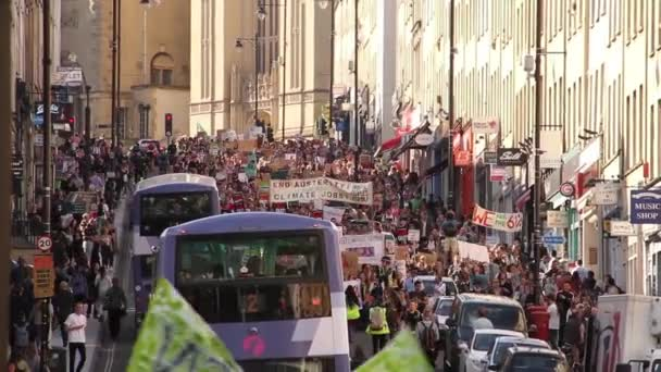 Road Full of People Marching  Chanting, UK Austerity Protests 2015, Bristol