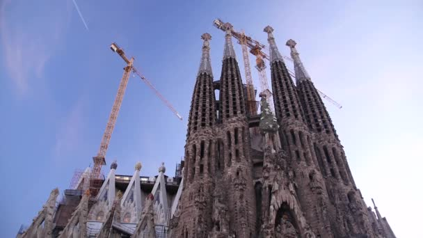 La Sagrada Famila Cathedral with Cranes during Construction Work