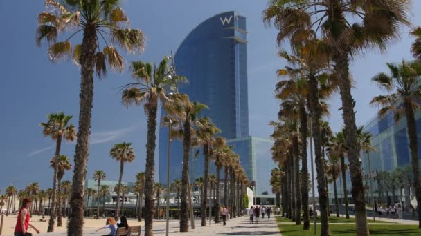 Barceloneta Beach & 'W Building' Scenic with Palm Trees