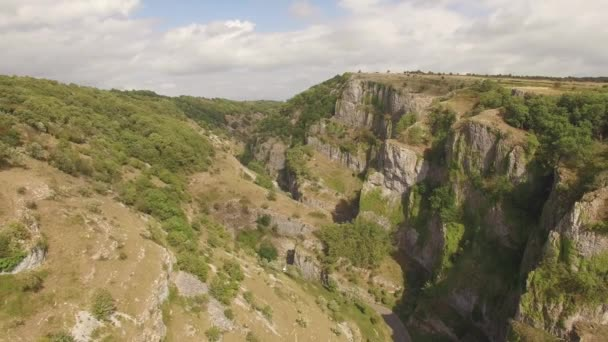 Aerial landscape of beautiful green Cheddar Gorge, Somerset England
