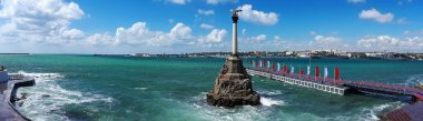 Panorama of the Sevastopol Bay with the Monument to the Scuttled Ships during a small storm, Black Sea, Crimea