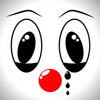The face of a man in a clown mask with different emotions, a sad crying mime with an expression on his face, the concept of studying physiognomy and psychodiagnostics clip art vector