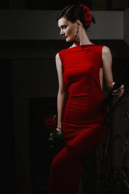 A charming sensual young girl in a elegance dress and red rose in hand is walking the in event. The youth. Beauty. Rose.
