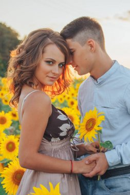 loving couple in field of sunflowers