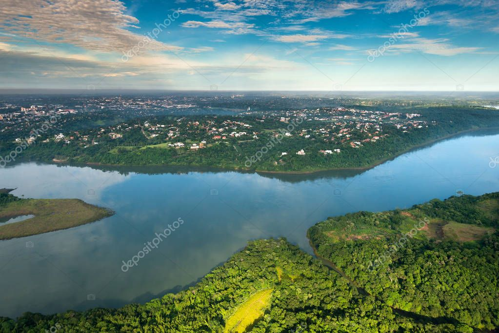 Aerial view of Parana River on the border of Paraguay and Brazi
