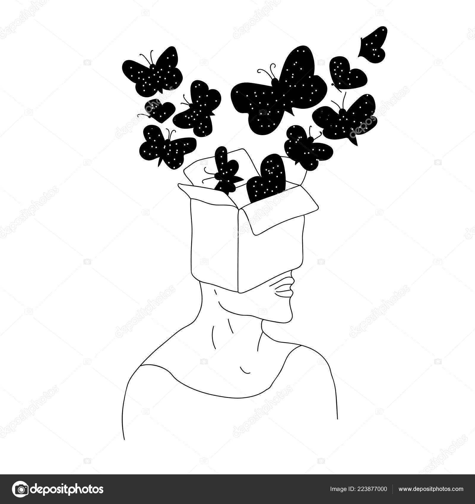 butterflies head cosmic philosophical art abstract vector drawing Head-Fi AK100 portriat of the magic surreal witch man with a head as night sky full of moth butterflies dreamy sci fi tattoo