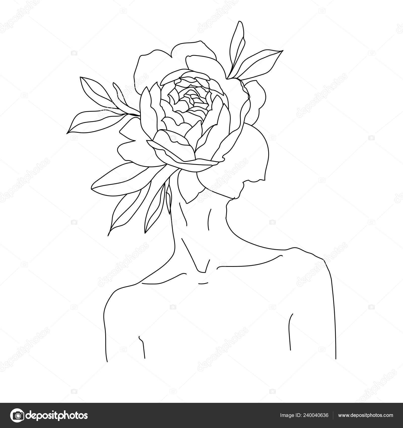 Outline Female Portrait Abstract Flower Head Stock Vector