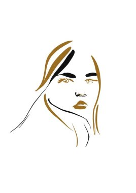 Glamour fashion beauty woman face illustration. Linear minimal portrait glamour woman in watercolor style. Beautiful young girl model black and white drawing sketch. stock vector