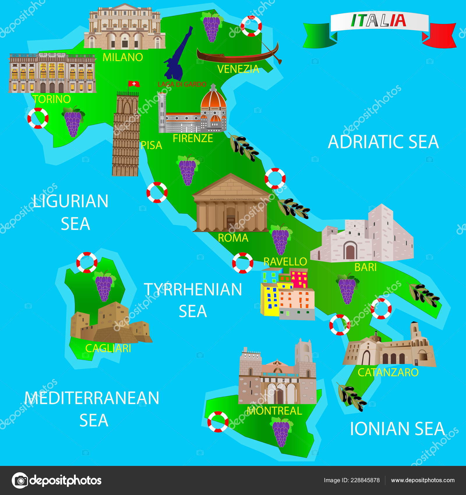 Map Of Italy For Tourists.Map Italy Tourists Architectural Monuments Stock Vector