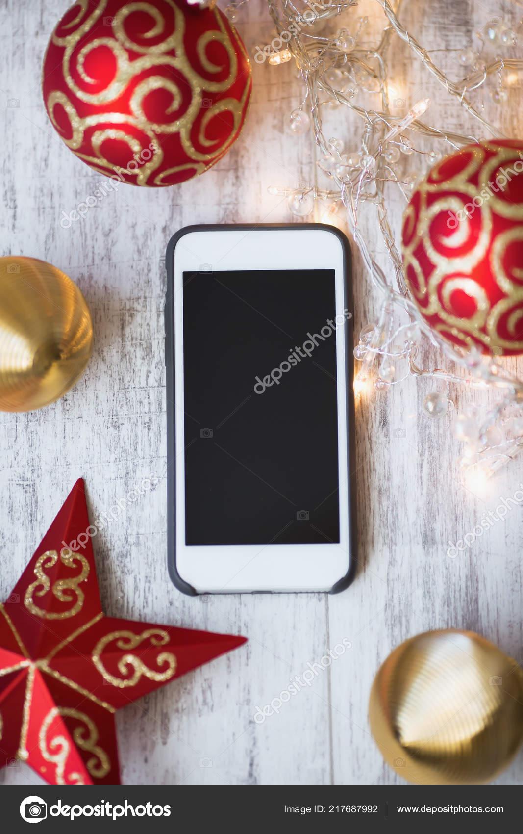 Madera — Smartphone Fondo Blanco Luces Foto Con Juguetes Navidad De vm8wNn0O