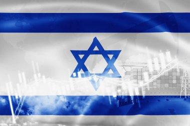 Israel flag, stock market, exchange economy and Trade, oil produ