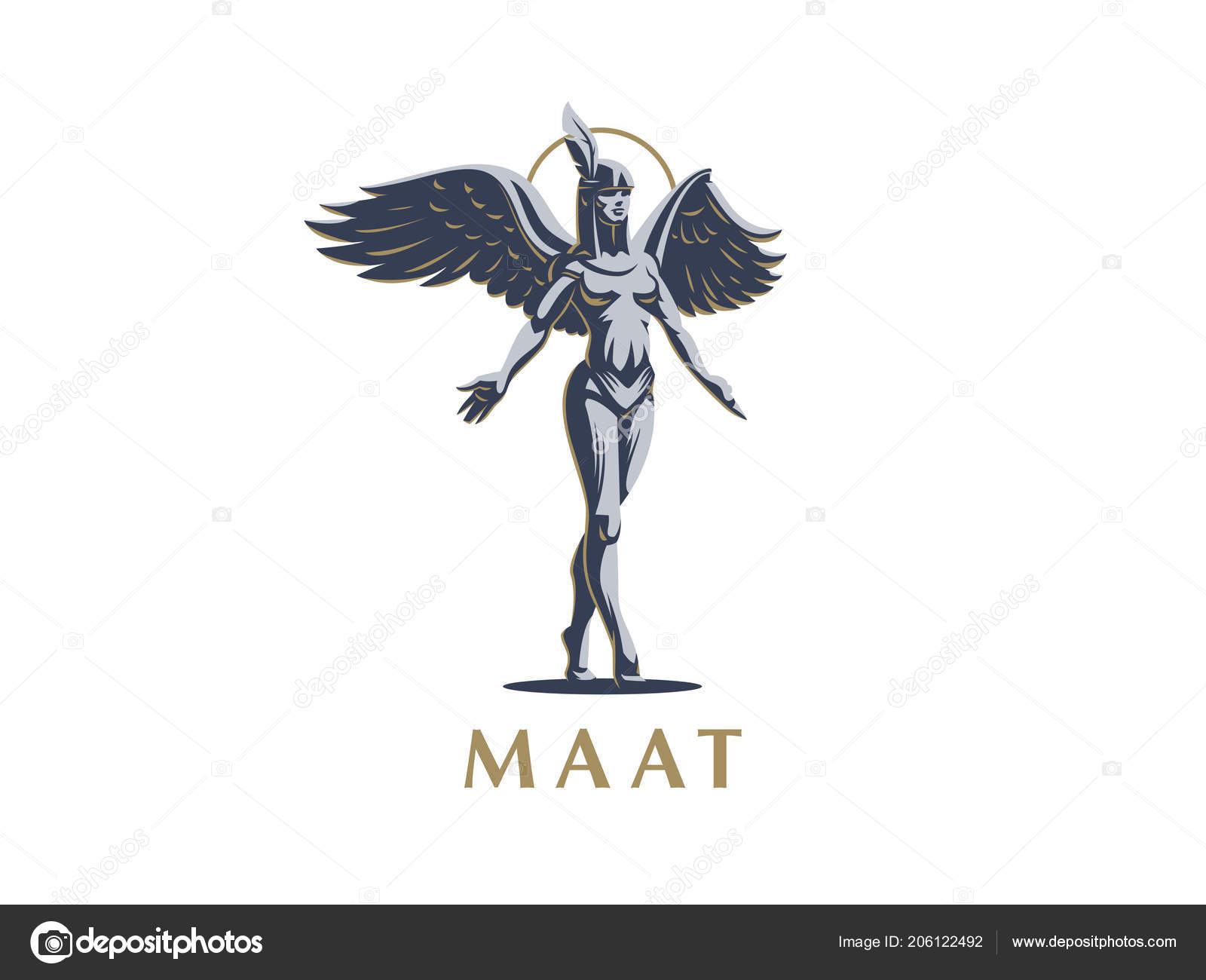 An Angel Girl Steps On Tiptoe With Arms Spread And Wings Stock