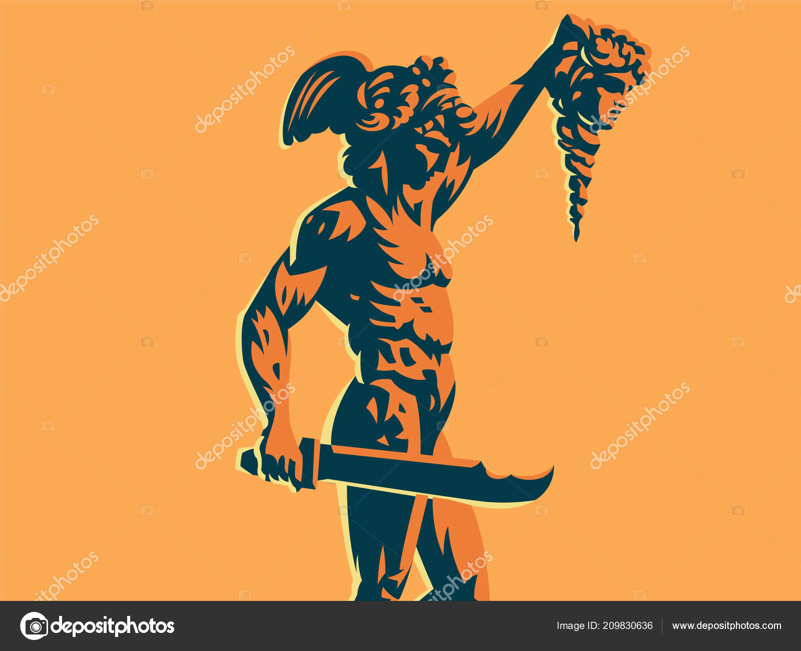 Perseus With The Head Of Medusa Stock Vector