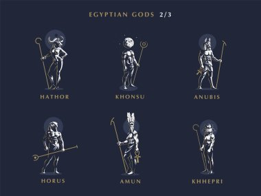 Egyptian gods. Set  of vector emblems.