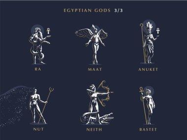 Egyptian gods. Set  of vector emblems.