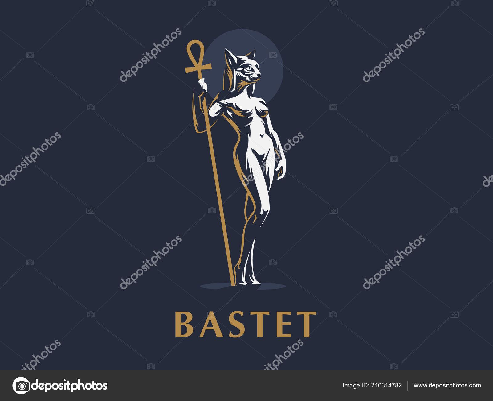 Egyptian Goddess Bastet Cat Woman Vector Stock Vector