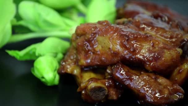Honey žebra bbq grilování maso potraviny