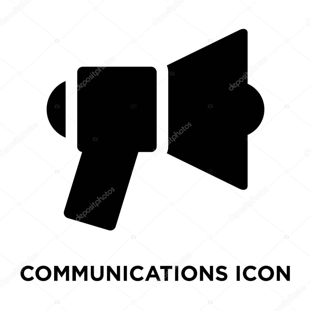Communications icon vector isolated on white background, logo concept of Communications sign on transparent background, filled black symbol