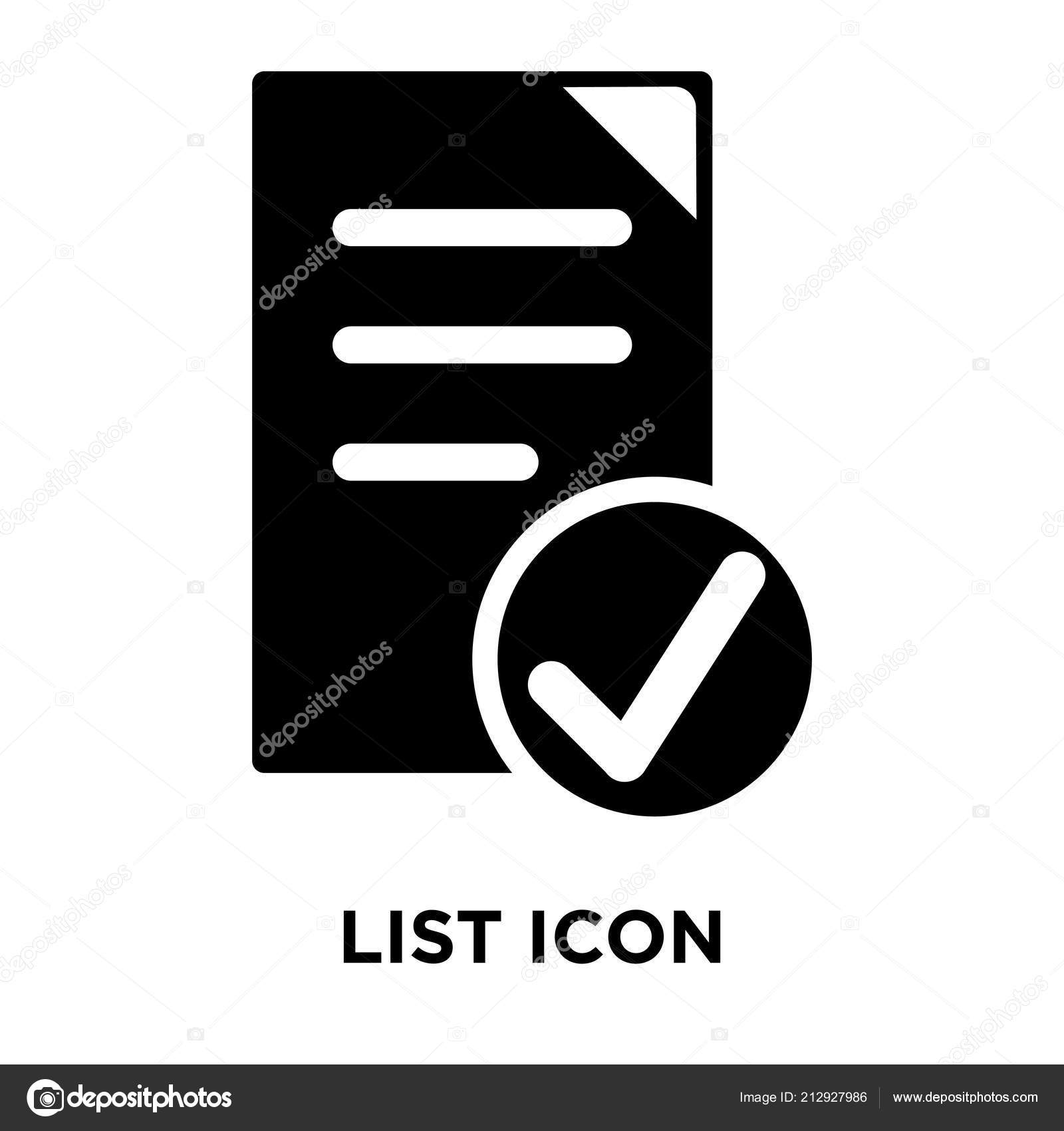 List Icon Vector Isolated White Background Logo Concept List Sign