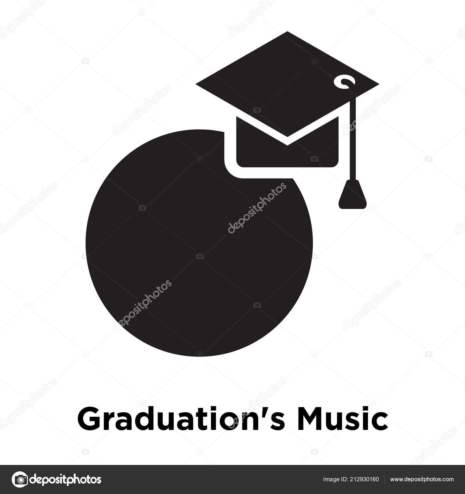 Graduation Music Icon Vector Isolated White Background Logo