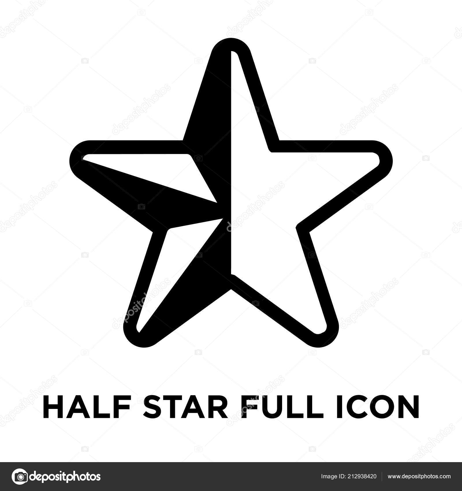 Half Star Full Icon Vector Isolated White Background Logo Concept
