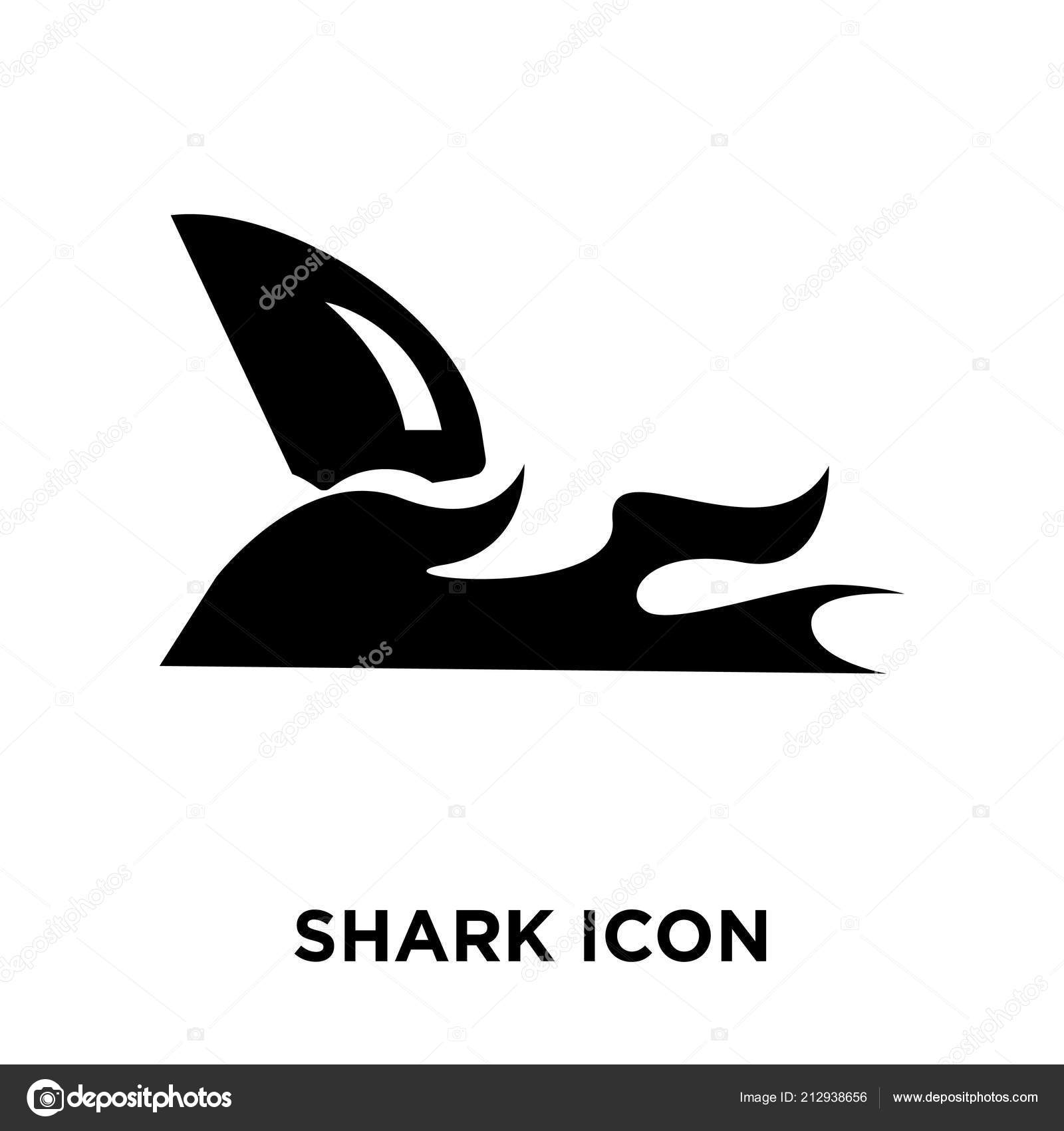 Shark Icon Vector Isolated White Background Logo Concept Shark Sign