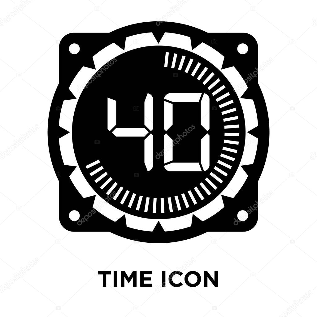 Time icon vector isolated on white background, logo concept of Time sign on transparent background, filled black symbol