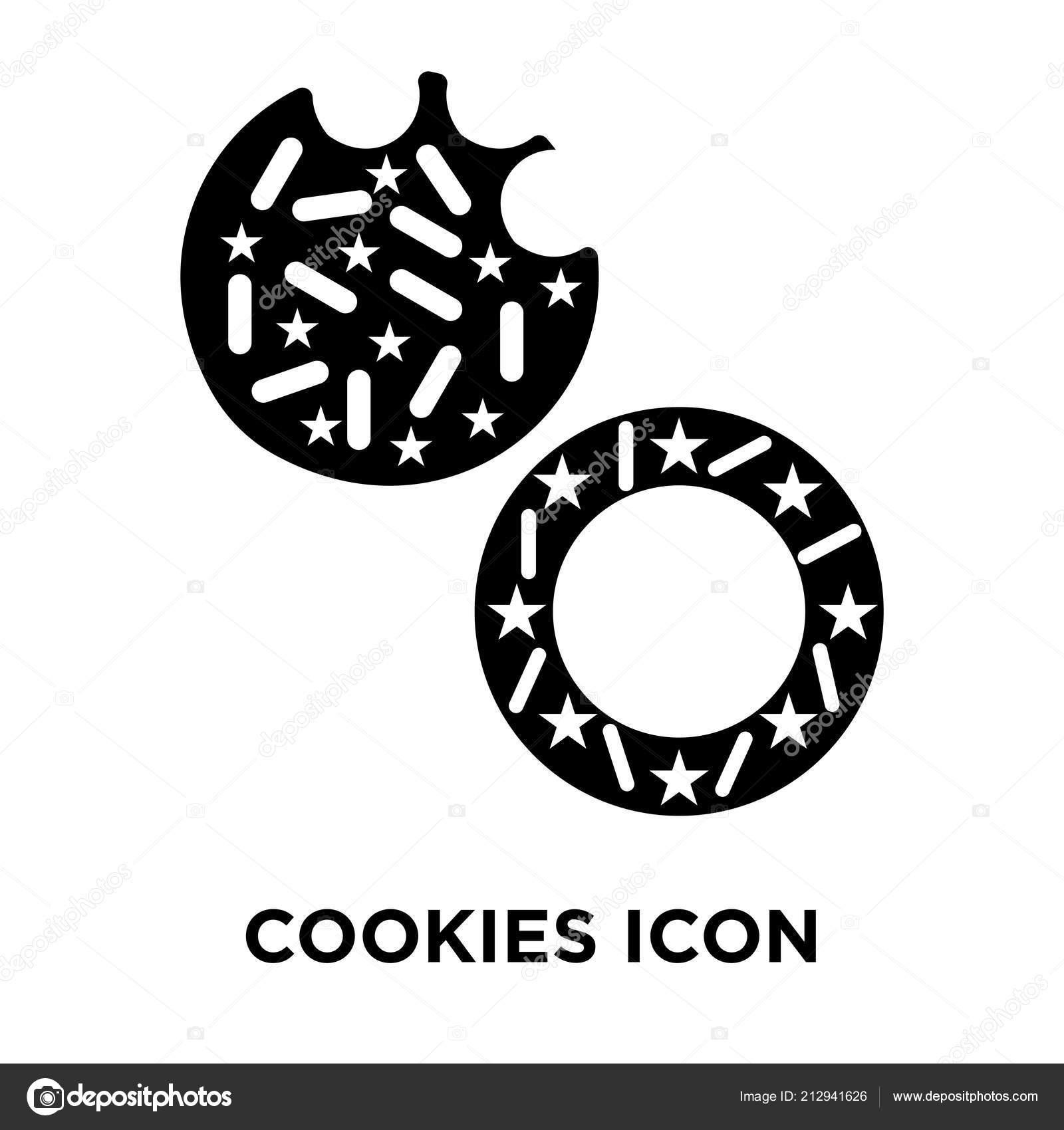 icon cookies cookies icon vector isolated white background logo concept cookies sign stock vector c topvectorstock 212941626 depositphotos