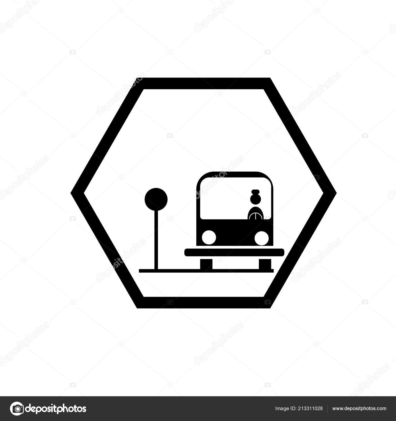 School Bus Stop Icon Vector Isolated White Background School