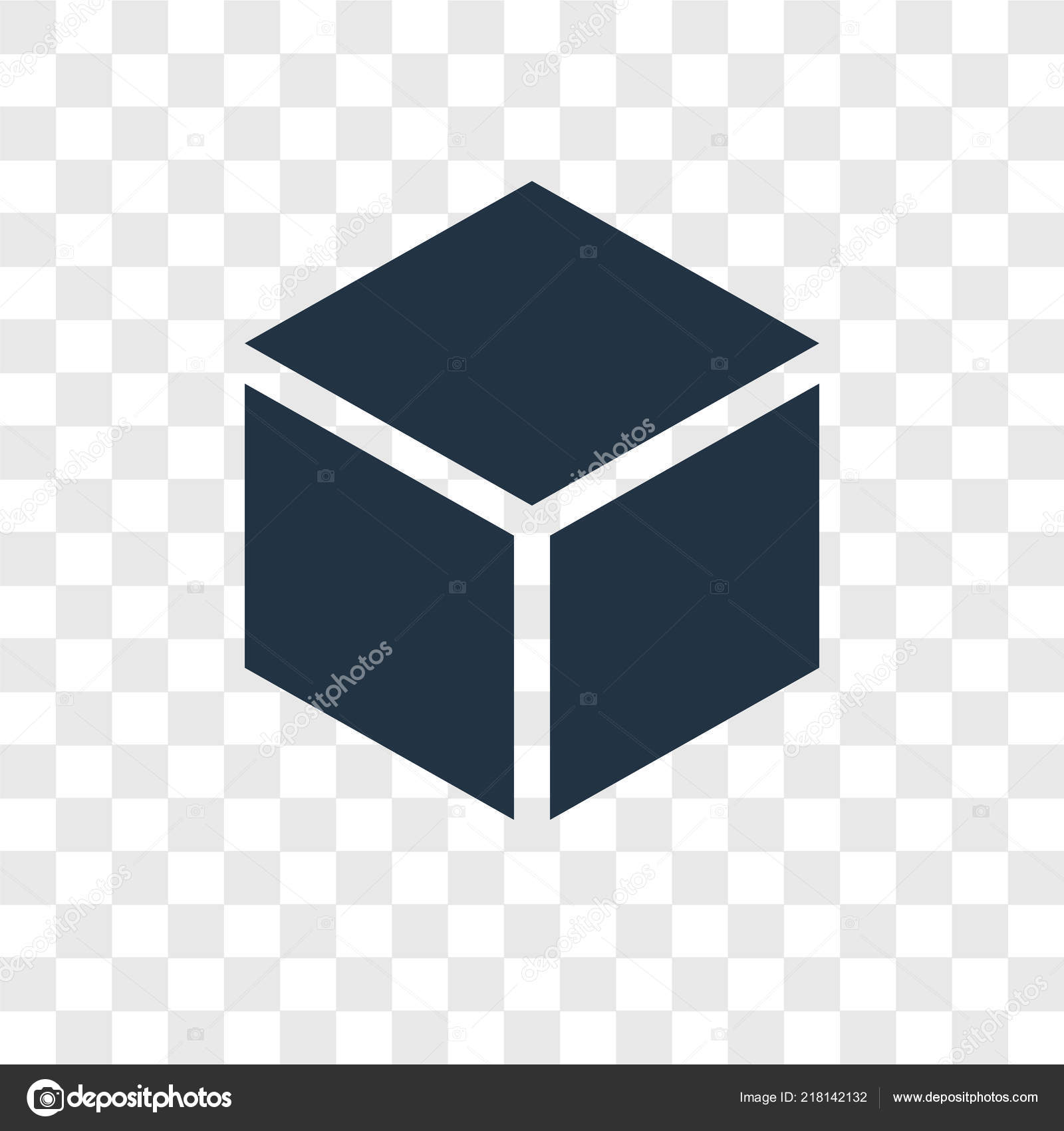 Cube Vector Icon Isolated Transparent Background Cube