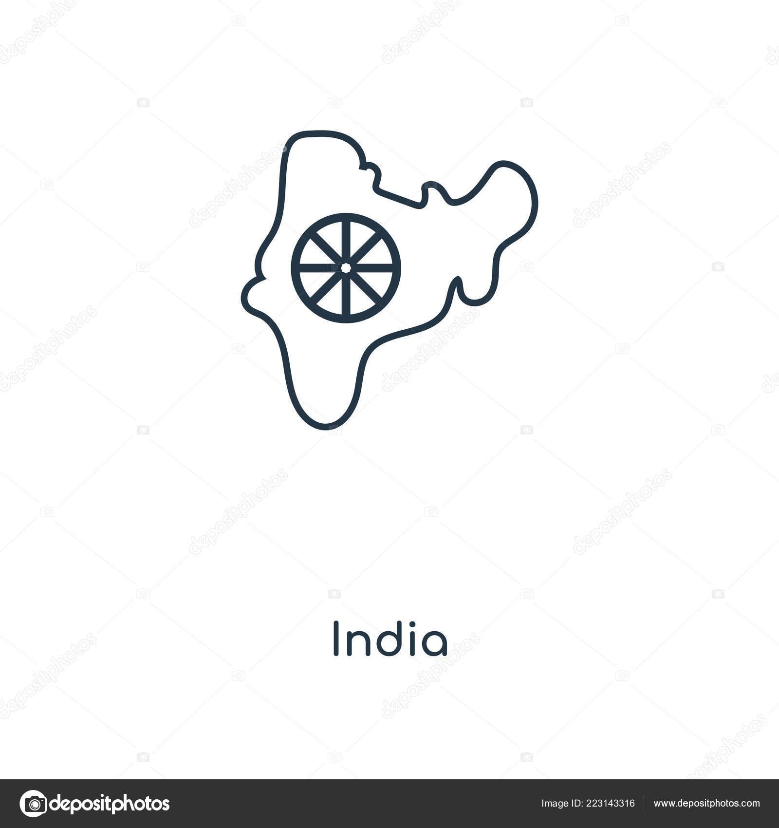 Indien Symbol Trendigen Design Stil Indien Symbol Isoliert Auf