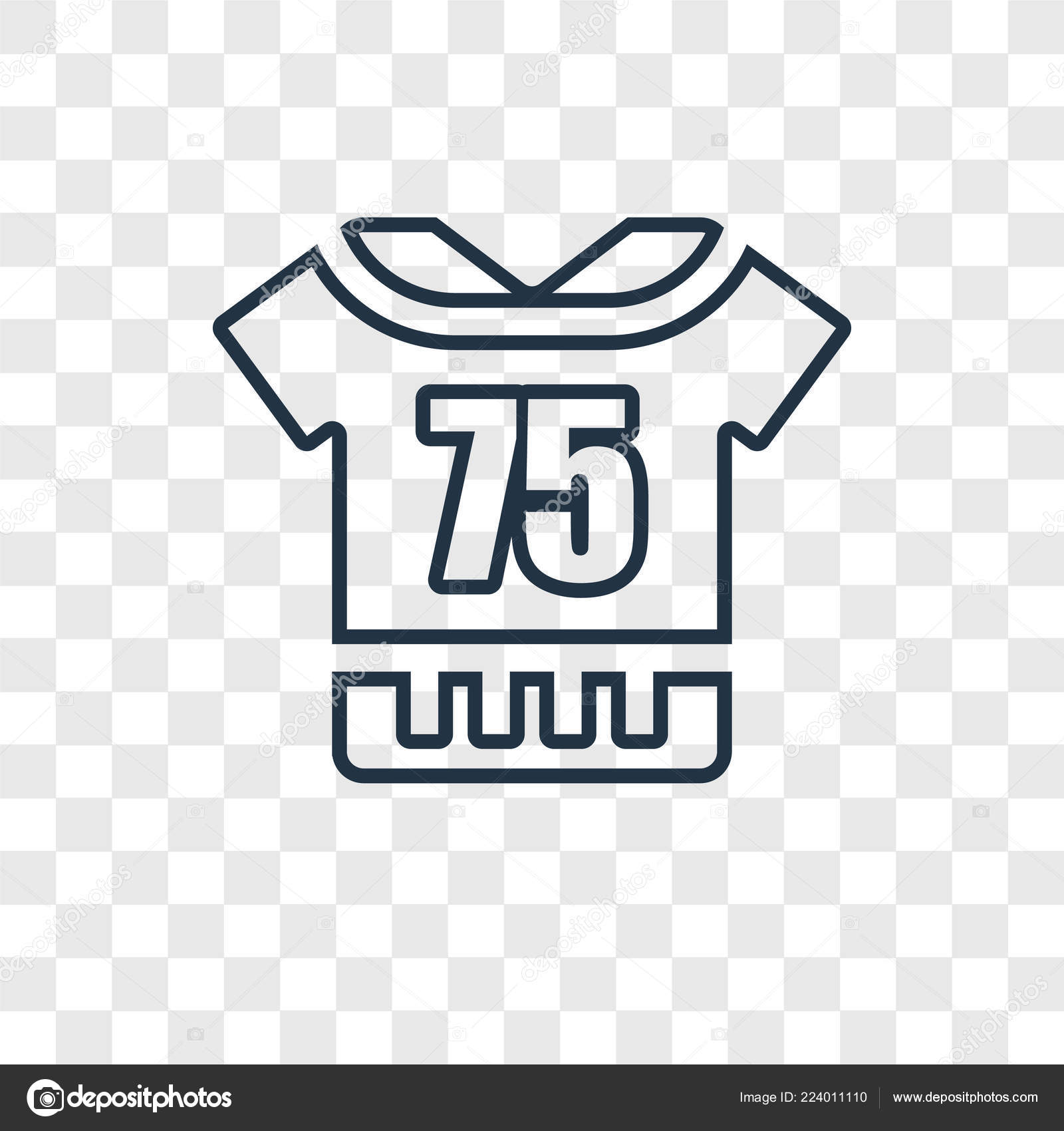 d25b32919 American Football Jersey concept vector linear icon isolated on transparent  background