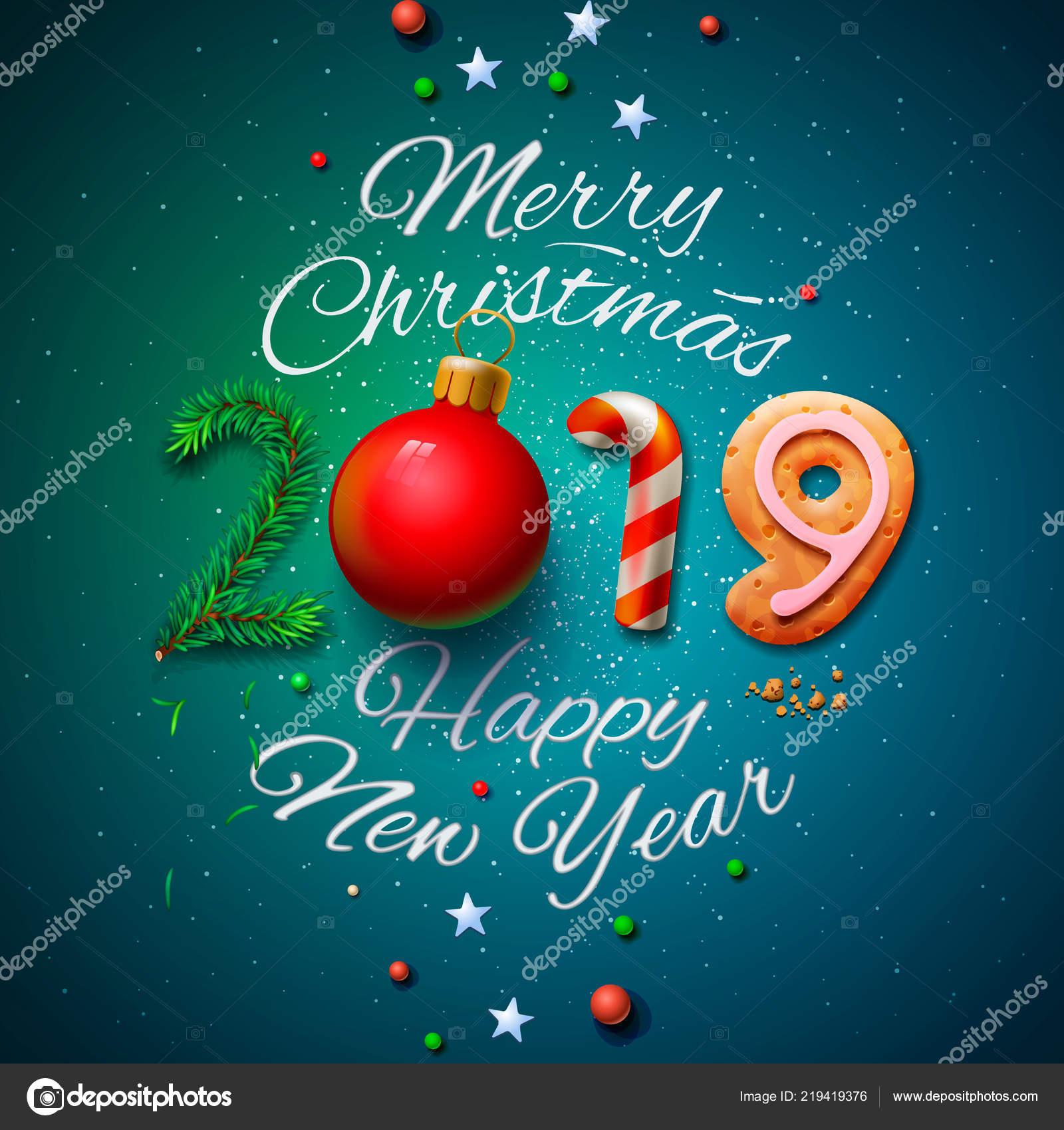 Frohe Weihnachten Und Happy New Year.Frohe Weihnachten Und Happy New Year 2019 Grußkarte Vektor