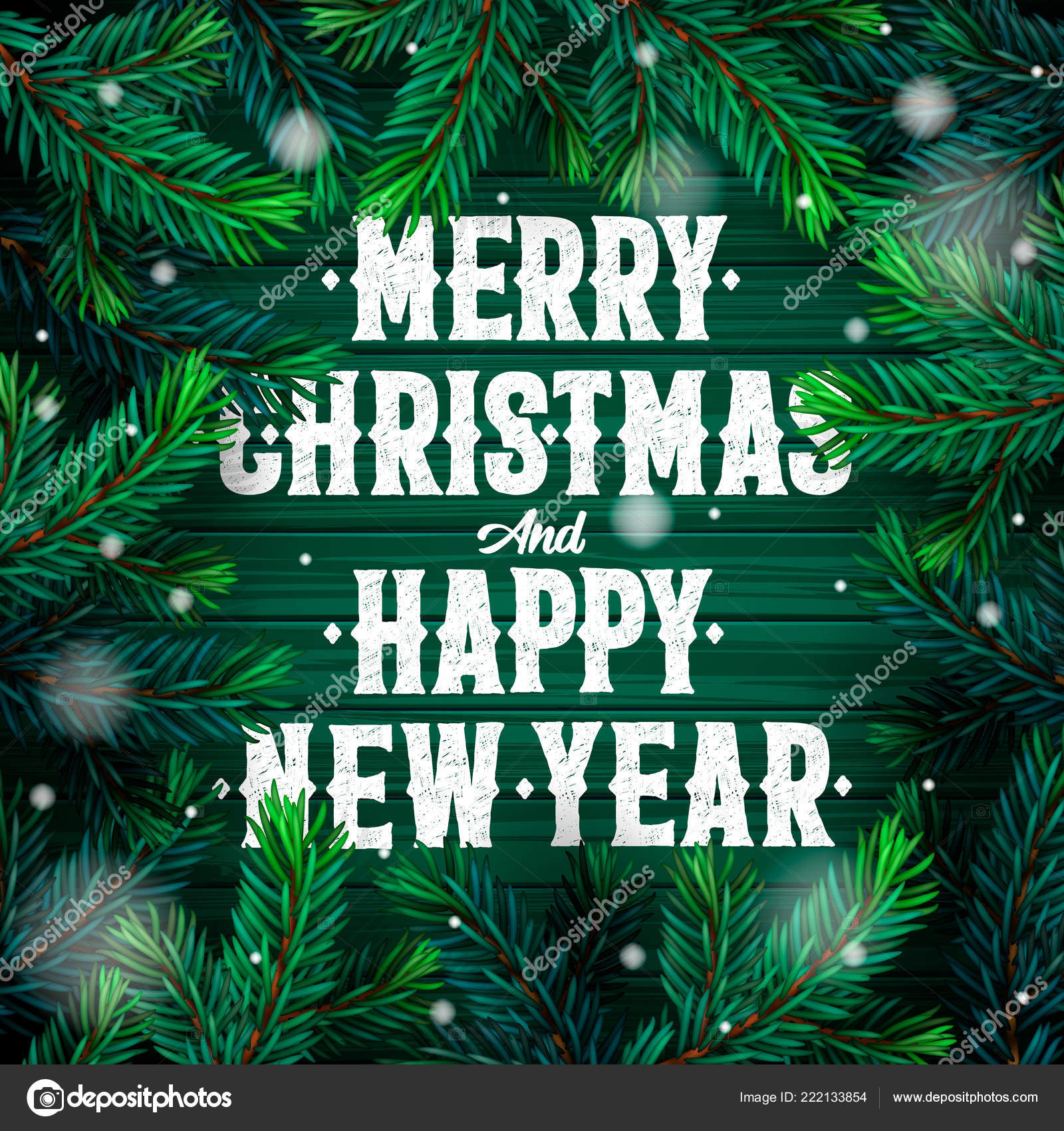 merry christmas happy new year greeting card text christmas tree stock vector