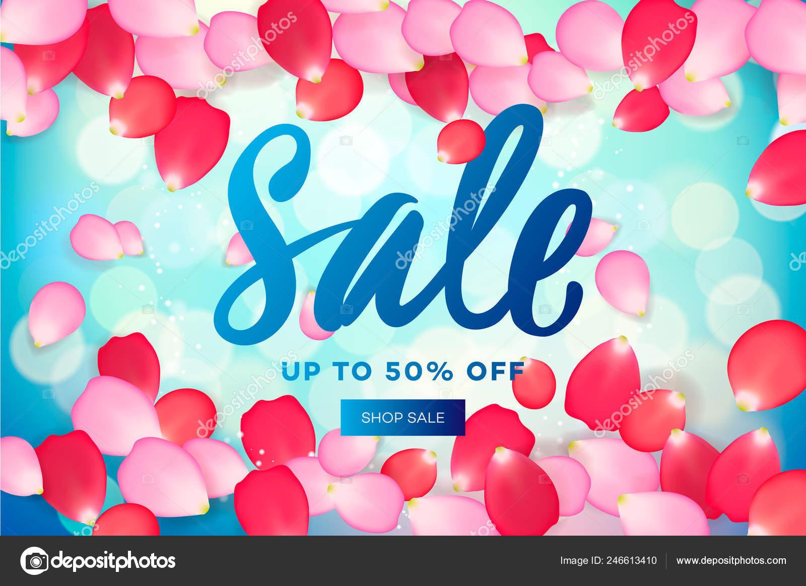 ピンクの花びらをフライングで春のセール Web バナー広告や