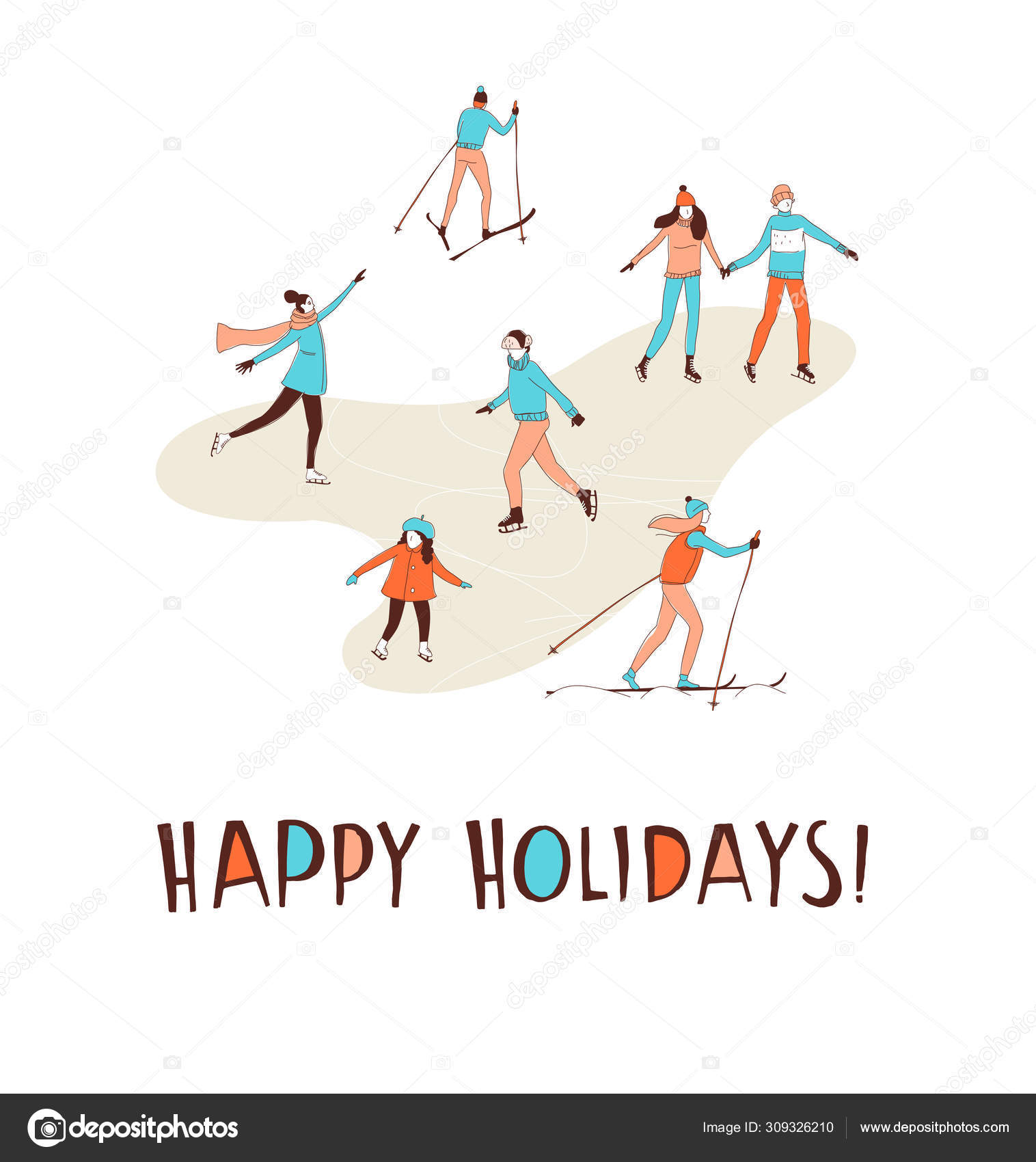 Winter Sport Activities Christmas Greeting Card Happy