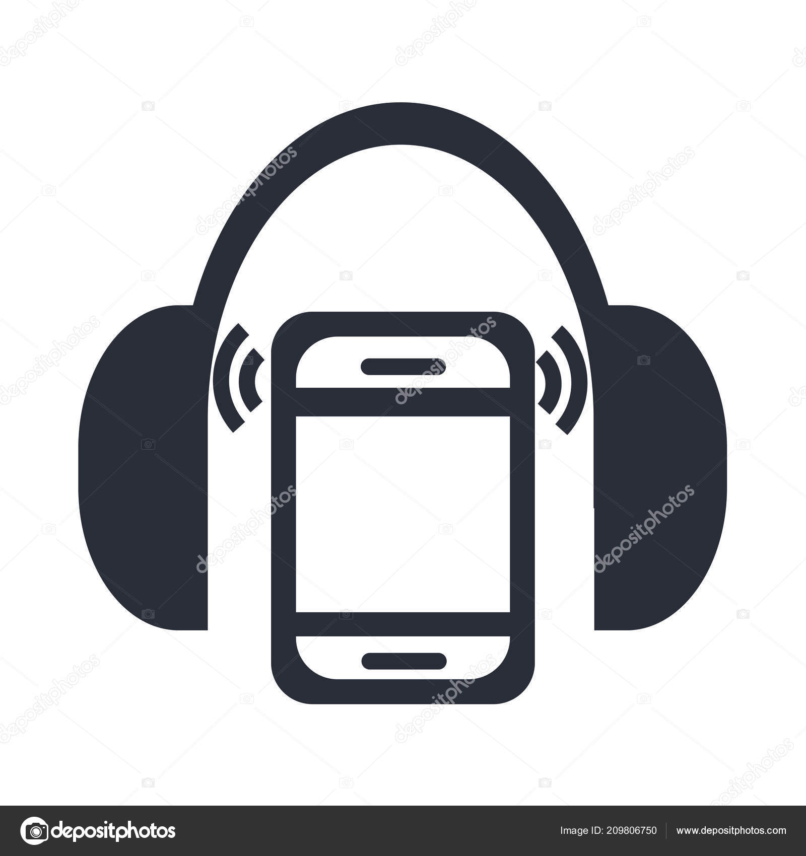Mp3 Player Headphones Icon Vector Isolated White Background Your Web