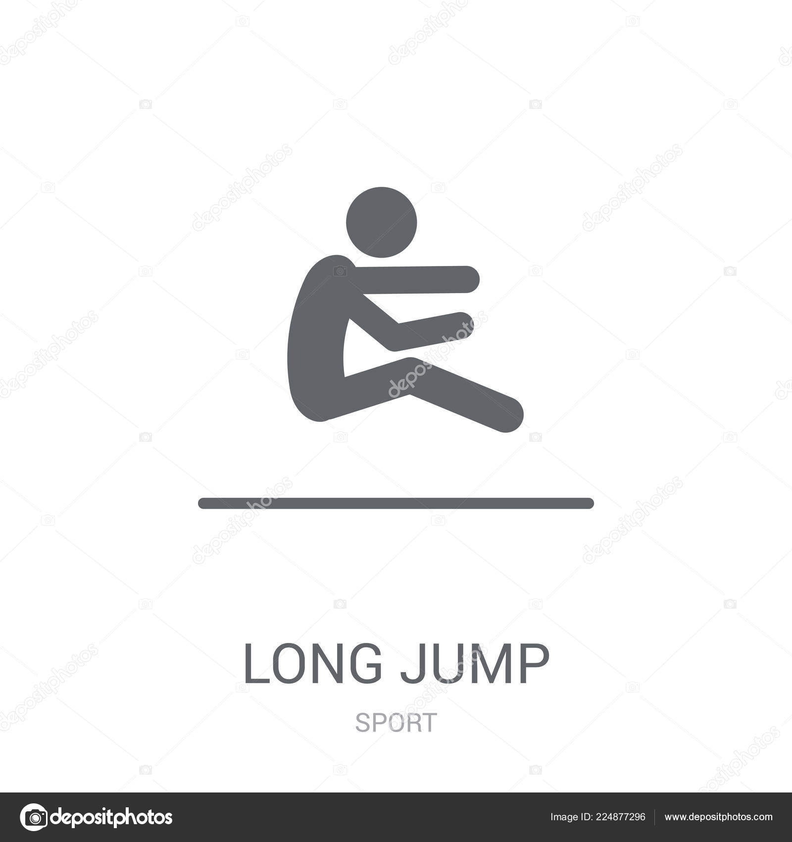 Long jump icon trendy long jump logo concept white background stock vector