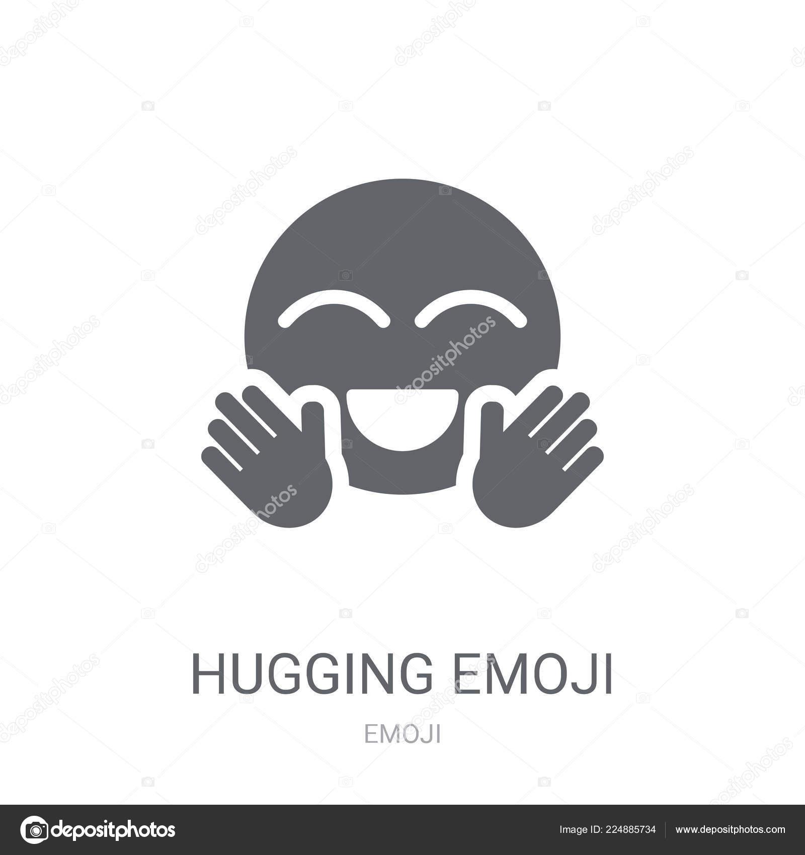 Hugging Emoji Icon Trendy Hugging Emoji Logo Concept White