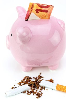 Cigarette cut in half and piggy bank. Stop smoking concept and save money. Concept of cost of tabacco, cigarettes.