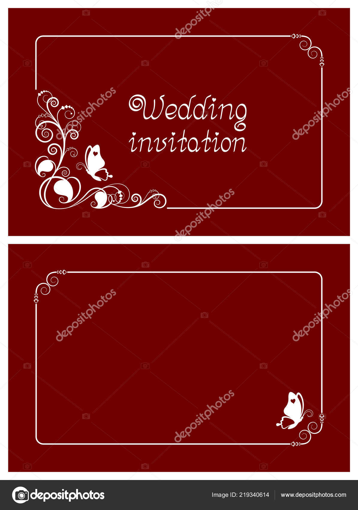Red Wedding Invitation Rsvp Invite Thank You Date Cards Floral