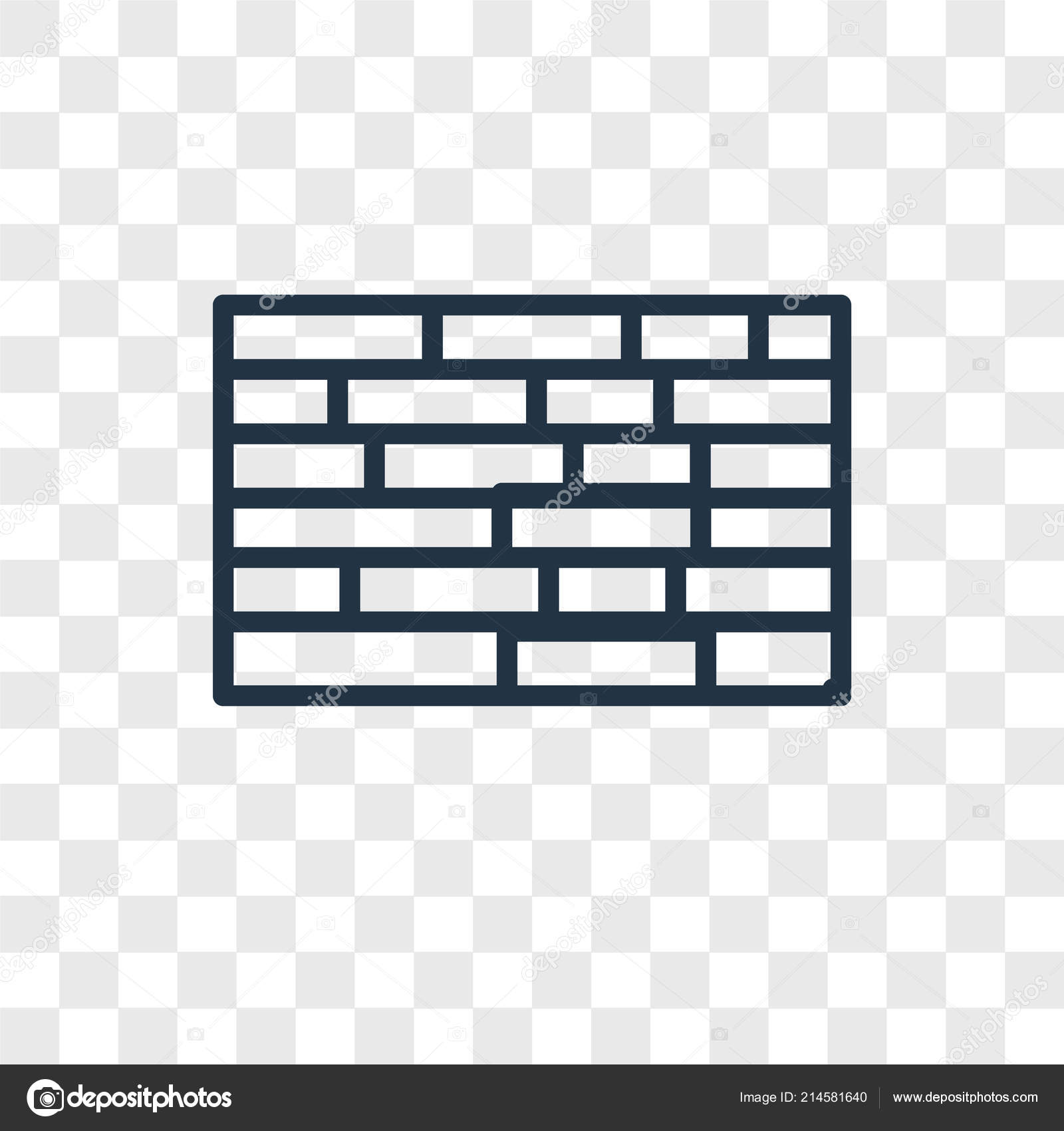 Brick Wall Vector Icon Isolated Transparent Background Brick Wall